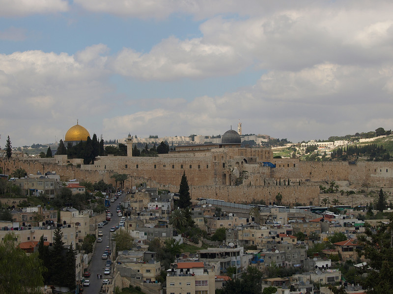 View of Dome of the Rock and Al Aqsa Mosque (black dome on right) from the grounds of St. Peter grounds