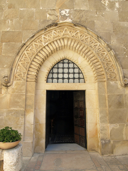 Entrance to the Church of the Flagellation (second station on the Via Dolorosa); note the thorn motif to commemorate where Christ received the crown of thorns