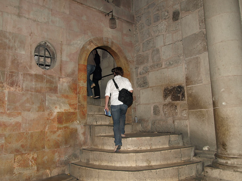 Holy Sepulchre; interior stairway leading to Calvary, the hill of the Crucifixion.