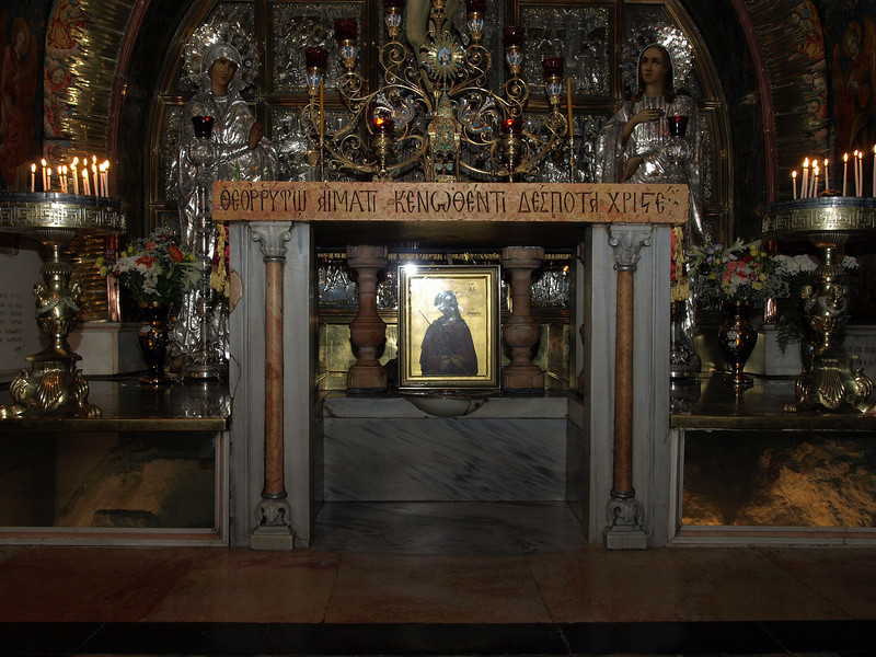 Holy Sepulchre; Greek Orthodox altar at the site of the Crucifixion