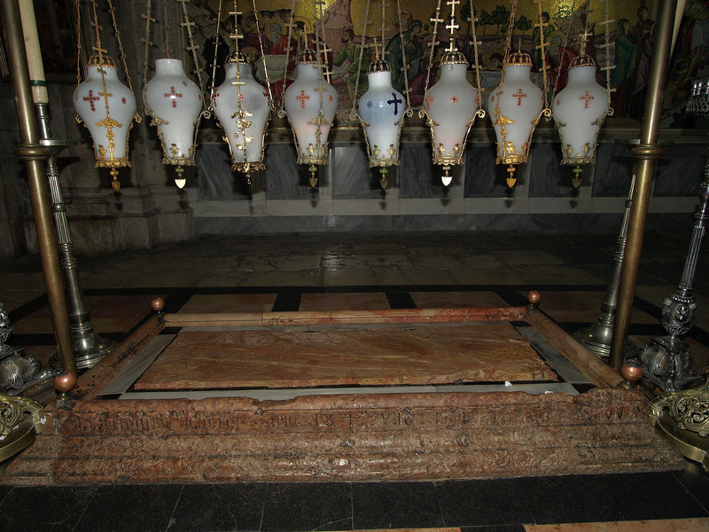 The stone of Anointing; where Christ's body was prepared for burial.