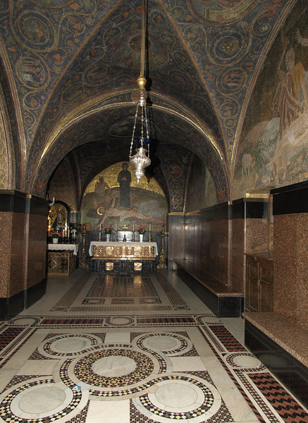 Holy Sepulchre.  The hill of Calvary is divided between the Catholic and Greek Orthodox churches; this is the Catholic chapel.
