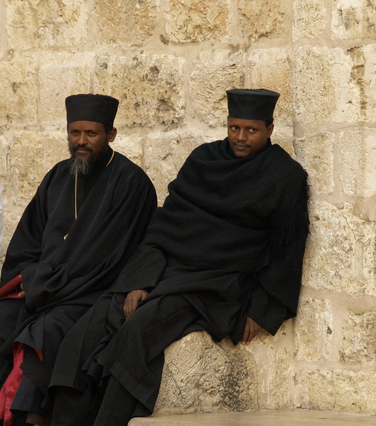 Ethiopian priests outside the Holy Sepulchre
