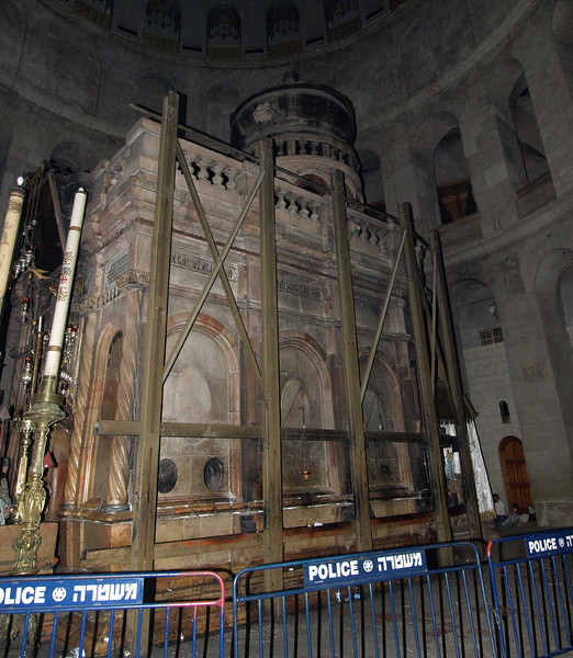 Holy Sepulchre; the edicule built over the traditional burial site of Christ.