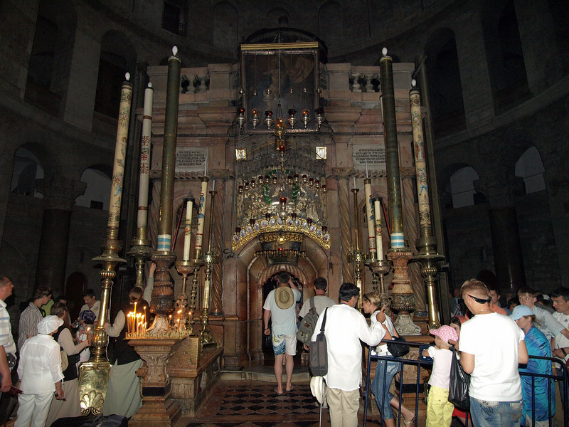 Holy Sepulchre; pilgrims waiting to enter the tomb