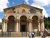 Basilica of the Agony/Basilica of All Nations;  the four statues represent the authors of the Gospels:  Matthew, Mark, Luke, and John
