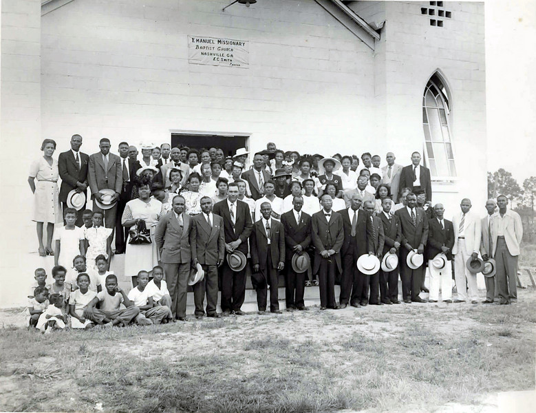 Emanuel Baptist Church, Nashville, Georgia, E. C. Smith, Pastor. Photo taken about 1960. Identifications and exact date needed. Photo by Jamie Connell, courtesy of Ellis Connell
