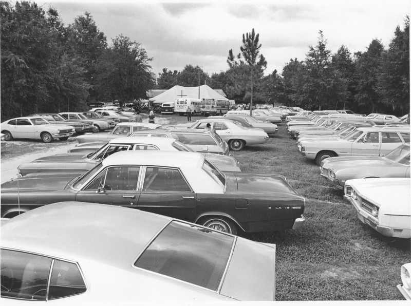 Camp Tygart camp meeting parking lot Aug 1971<br /> <br /> The Berrien Press, page 6, August 12, 1971<br /> photo caption:<br /> The large parking area allows easy access to the camp.