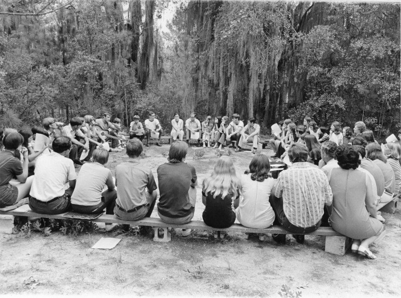 Camp Tygart camp meeting August 1971<br /> <br /> The Berrien Press, page 6, August 12, 1971<br /> Photo caption:<br /> Youth sessions were held each evening of Camp Meeting under the direction of Rev. Bill Dupree and Webby Oglesby.