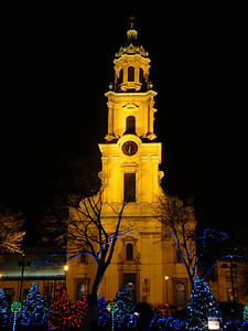 Cathedral of St. John the Evangelist at night during the Christmas season.