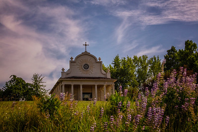 Cataldo Mission Lupine Foreground Landscape