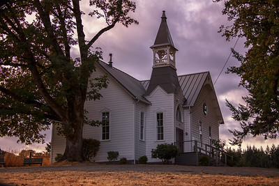McCabe Chapel UMC McMinnville OR Sunset 8-23-18