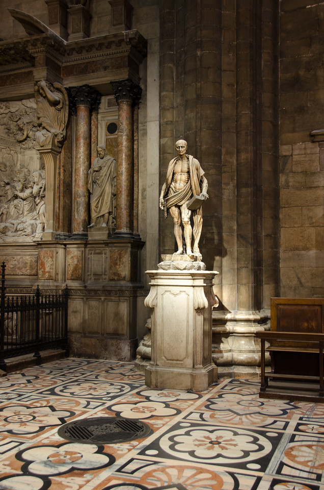 St. Bartholomew. Believed to have been martyred by being skinned alive, then beheaded.