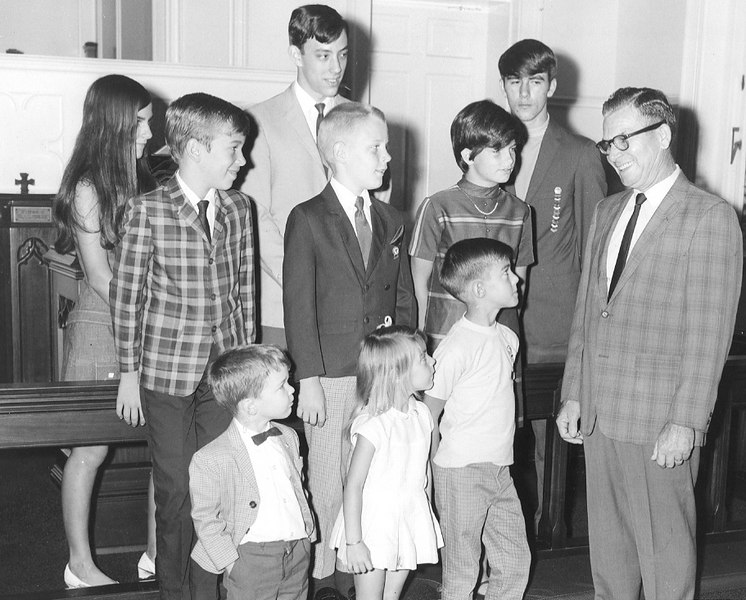 Methodist Church Attendance Awards, The Berrien Press, page 2, September 11, 1969<br /> Bennie Tygart with group of young people Kathy Connell, Holmes Wood, Buddy Harris,Dee Dorsey, Pastor's Son in Rear.