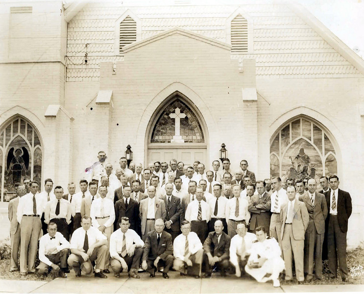 Nashville United Methodist Church Male Congregation. <br /> First row, left to right: Richard Bennett, _________, H.E. Whaley, Rev. W.M. Hobbs, Bill Tye, Elmo Jenkins, J.H. Harvey, Benny Tygart<br /> Second Row: ________, Johnny Pat Webb, _________, Perry Harris, Bill Moore, _______, ________, _______, B. Morris, _________, _______ Anderson<br /> Third Row: ________, Harold Brown, W. L. Clark, _________, Rob Bullard, Ralph Watson, ________, Harry Brown, Rube Griner, _________,<br /> Fourth Row: __________, ___________, Dumps Griffin, _________, __________, J. H. Anderson, ________, _________, __________<br /> Fifth Row: __________, _________, Nat Peeples, ________, __________, _________, __________, _________, ___________<br /> Sixth Row: ______ Hall, ________, __________, ___________, M.E. Perry, E.R. Smith, _________, B.L. Bennett, Bob Dale, Foster Griffin.<br /> Exact year and other identifications needed.<br /> Photo courtesy of Judy Anderson Dasher and Ann Jones