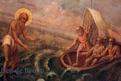 Painting of Jesus walking on the water inside orthodox church of Cathedral St. Vasily the Blessed (Saint Basil's) in Moscow Russia