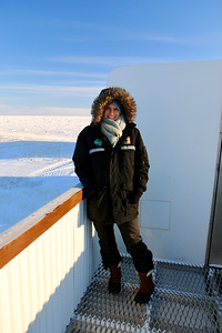 Aunika on the outside deck of the polar rover