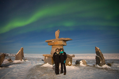 Aunika & Mitzi with Aurora Borealis in Churchill