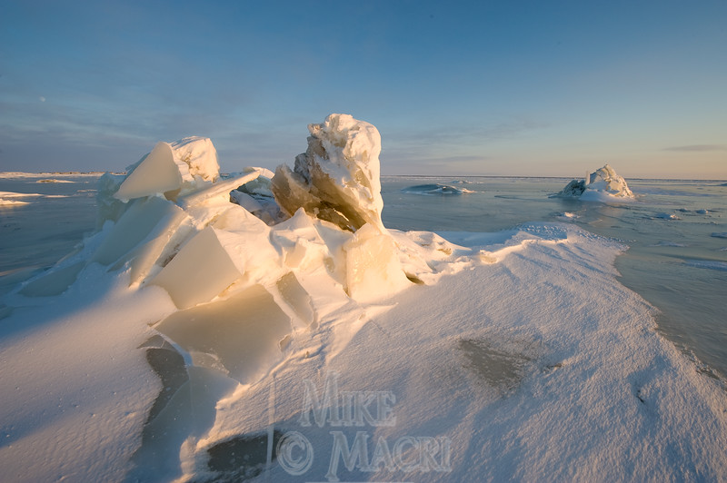 Ice hummocks are formed when tidal ice is lowered onto boulders.