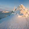 Ice hummocks  are formed when tidal ice is lowered onto boulders at low tide.