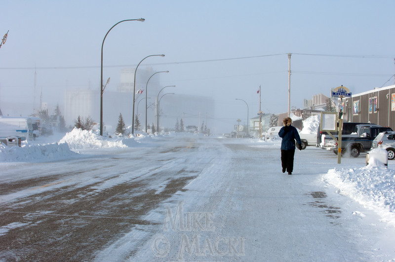 Town of Churchill Manitoba,main street, winter. For summer photos of the town of Churchill see northern scenes gallery.