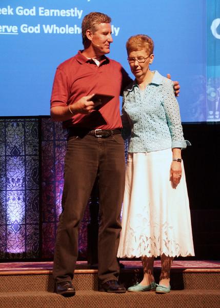 Photo By R Bodnar.... Sharon Arndt receiving Lucille Porter Award, For Serving From Pastor Jim<br /> Capturing God's Creation