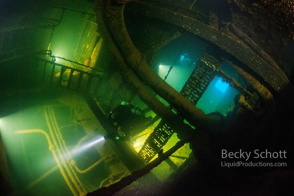 entering engine room illuminated