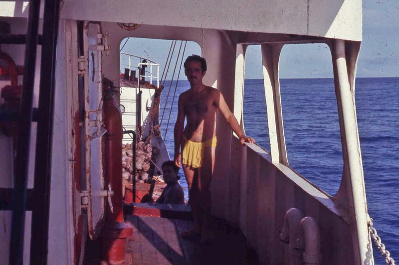 "Vinnie on board the ""Truk Islander"""