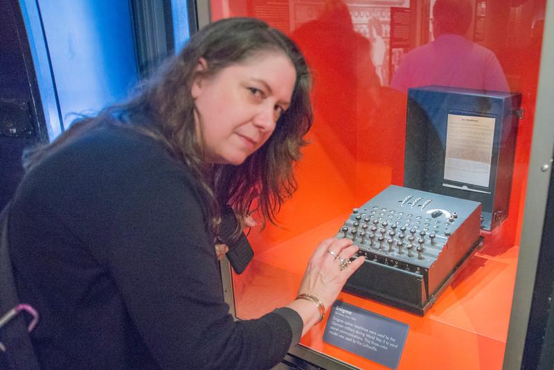 Maura as a WW II code breaker using the infamous German Enigma Machine!