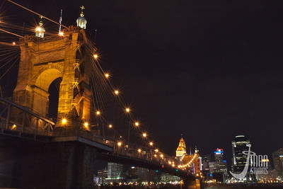 Roebling Suspension Bridge and Cincinnati Skyline
