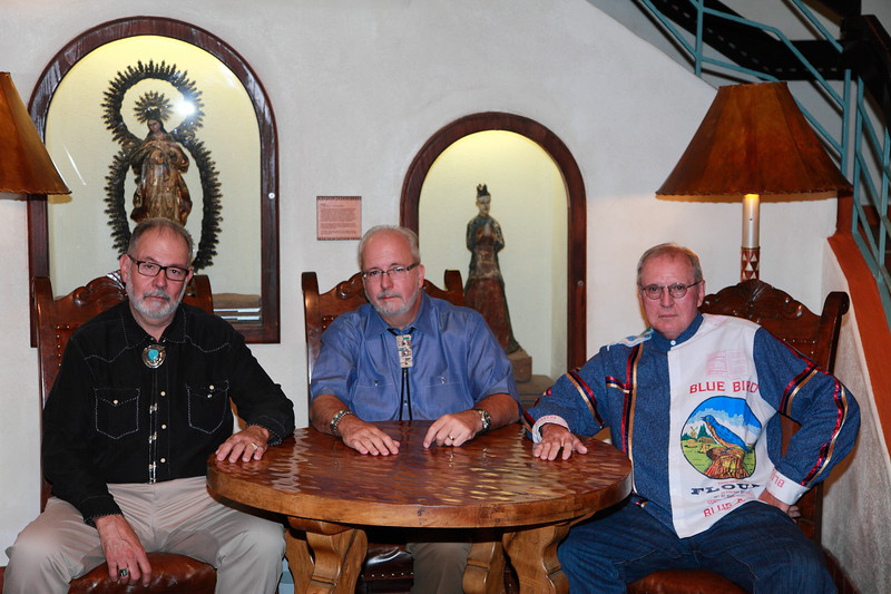 """""""Tres Amigos"""" - Pictured in the center is """"El Hefe"""" (Miguel) , to his left is his brother Santiago,  and to his right is the hombre known only as """"El Loco Pájaro Azul"""".  Photo taken at the La Fonda."""