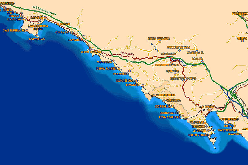 This is a map of the region showing the principal towns along the coast.   We were based at Sestri Lavante and travelled to our start points by train.