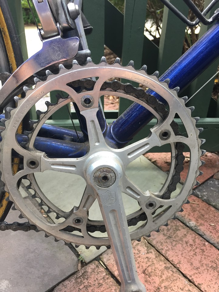 Campy Athena crankset.  The panographed chainrings are long gone.