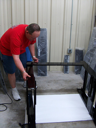 April 1, 2012 - Kertis assembling his new workbench.
