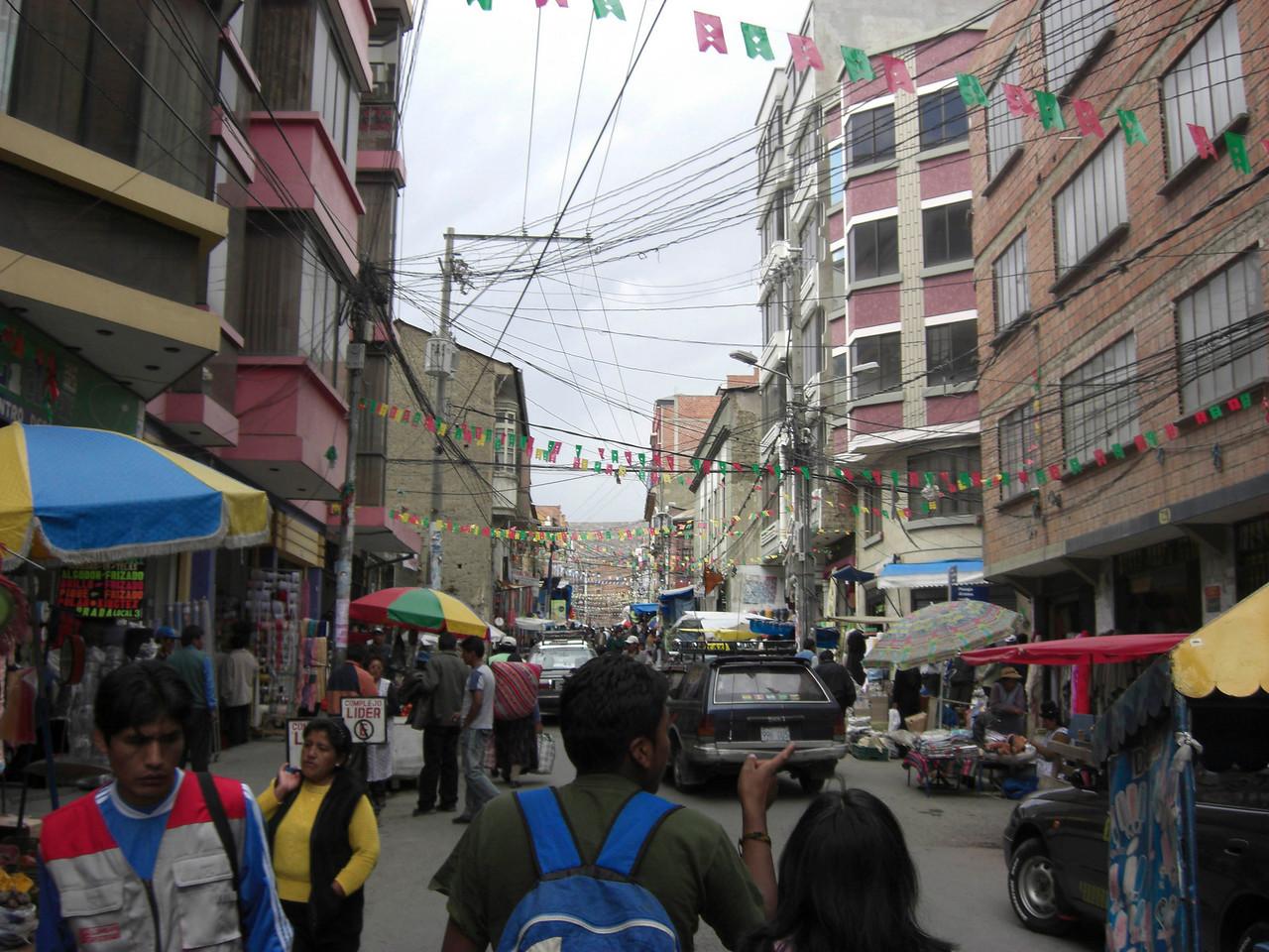 Busy market day in La Paz