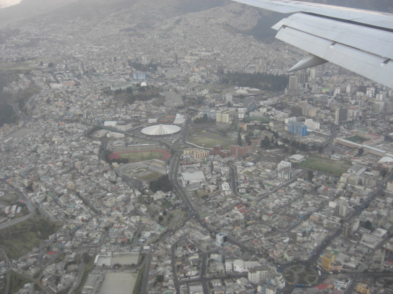 Looking down onto Quito