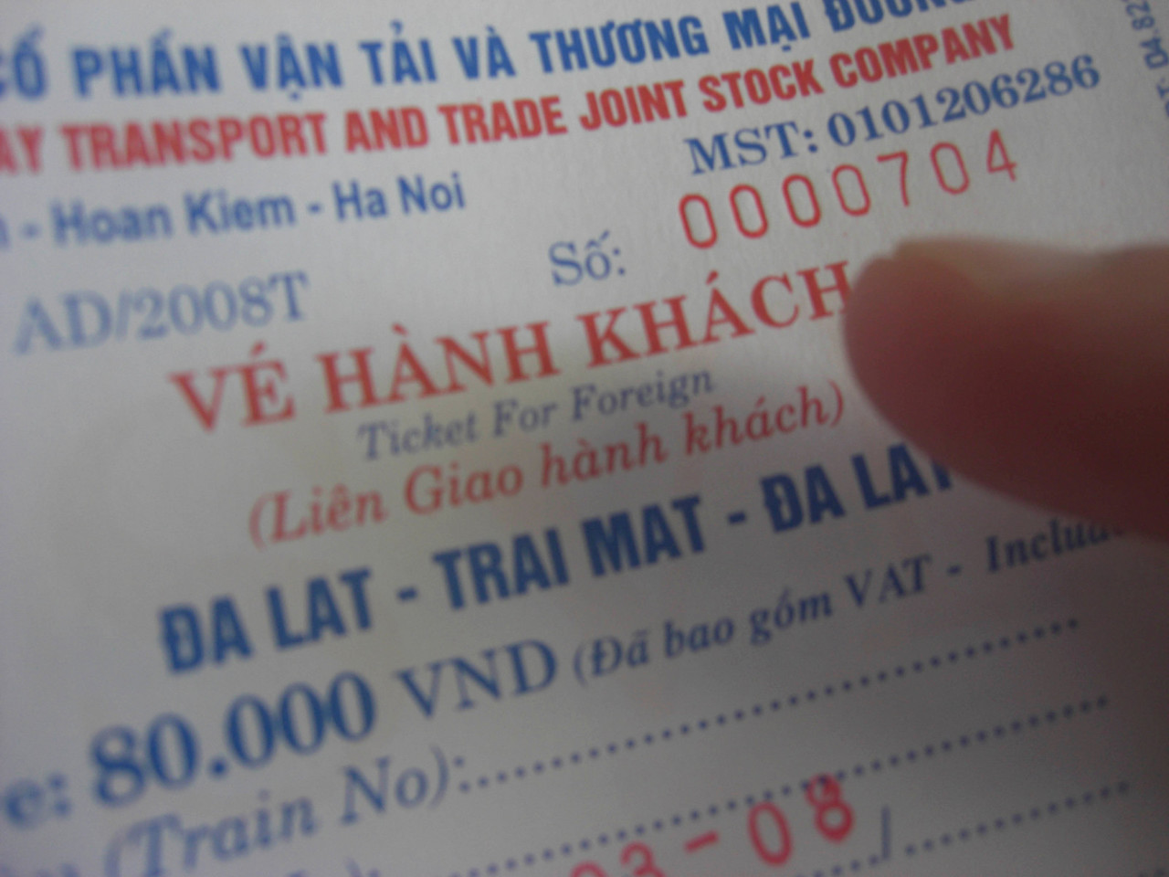 Train ticket, Dalat, Vietnam