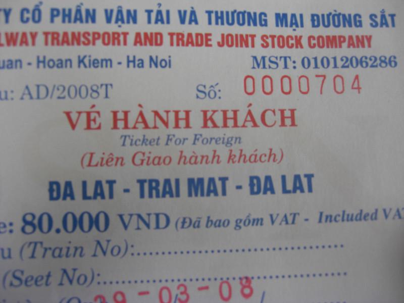 Train ticket, Dalat, Vietnam