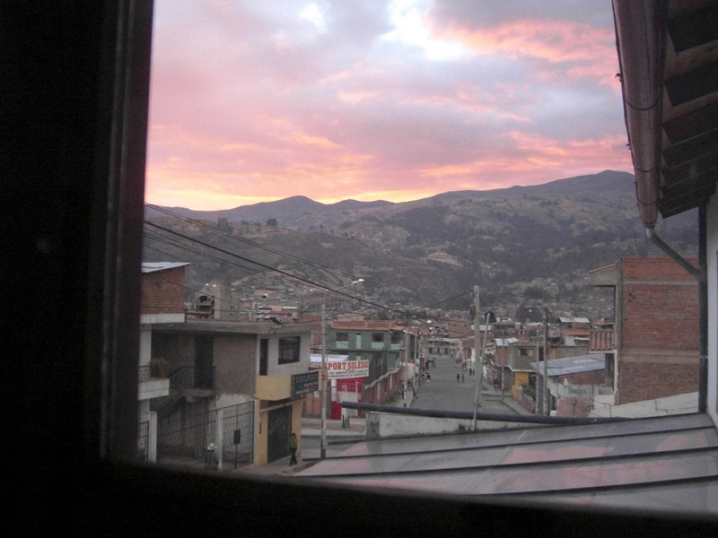 Sundown in Huaraz, the view from our room