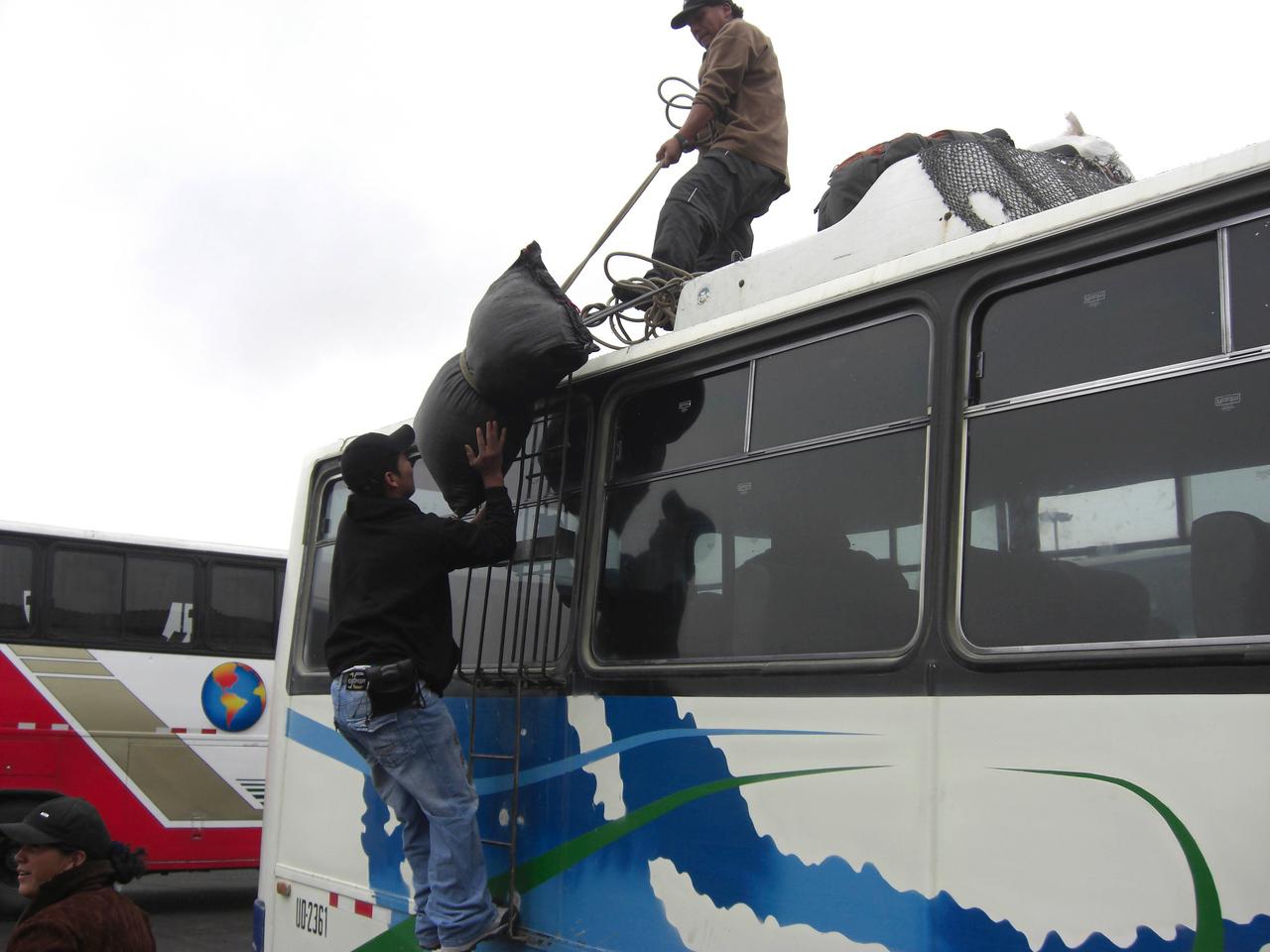 Boarding the bus to Caraz