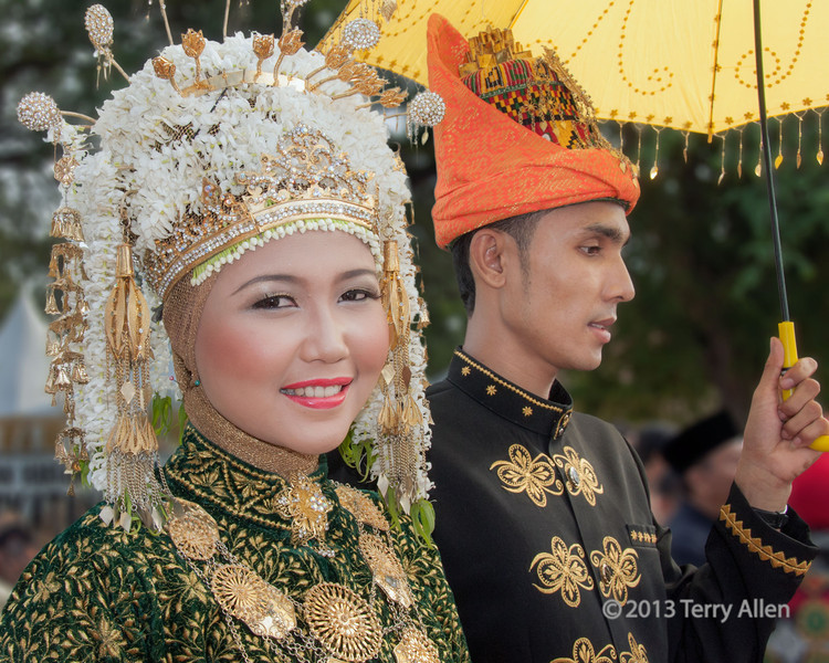 Portrait of an Acehnese couple in traditional dress, Banda Aceh, Sumatra