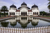Baiturrahman-Grand-Mosque,-Banda-Aceh,-Sumatra<br /> <br /> The original Mosque, which dated to the 12 C, was destroyed in the Aceh war and rebuilt around 1875.  Because it was further inland, it survived the 2004 tsunami.