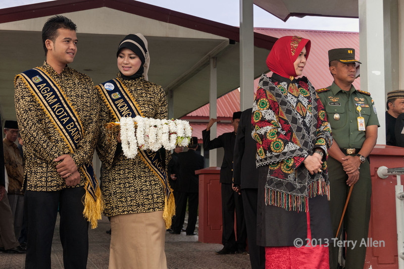 Welcoming-committee,-Banda-Aceh,-Sumatra<br /> <br /> We received the warmest of welcomes from the people of Banda Aceh, who got out their fabulous traditional dresses and performed traditional dances and a wedding ceremony