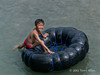 Boy on an inner tube