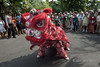 Lion-dancer-performing-for-the-crowd,-Belitung,-Sumatra