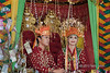 Bride and groom in traditional dress at a traditional wedding ceremony, Bengkulu, Southwest Sumatra