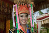 Lovely woman in traditional head dress, Bengkulu, Southwest Sumatra