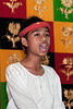 Young-Acehnese-singer-at-welcoming-ceremony,-Lhokseumawe,-Aceh- Province
