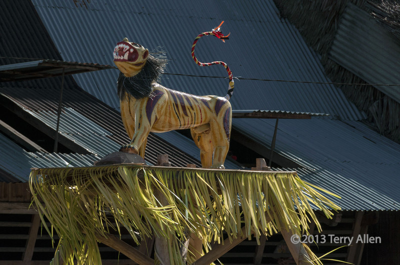"Ceremonial lion figure with its paw on a model of the take-off stone, Bawomatuluo village, Nias Island, Sumatra<br /> <br /> Nias Island is the site of one of the last living megalithic cultures.  Stone Jumping is a manhood ritual where young men leap over stone towers 2 to 2.5 meters high.  To accomplish this they run up to the stone monument and place their foot on a smaller take-off stone, which can been just seen in the lower right here <a href=""http://goo.gl/ihvxR"">http://goo.gl/ihvxR</a>."