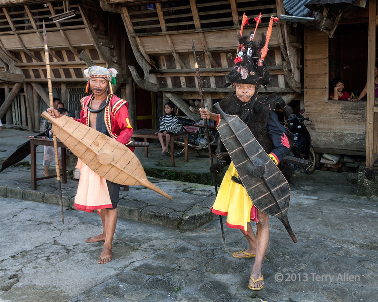 Pair of Nias warriors, Bawomatuluo Village, Nias Island, Sumatra<br /> <br /> The warrior on the right was quite a character!